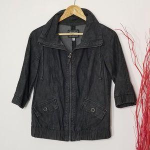 Dynamite DENIM   3/4 Sleeve Front Zipper Jacket